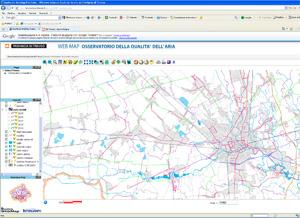 Pagina mappa dinamica on-line dell'Osservatorio Qualità dell'aria: Piste Ciclabili