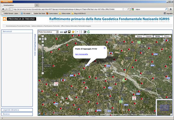 WEB GIS - Raffittimento primario della rete Geodetica Nazionale IGM95